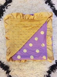 Image of Gold Dot Glamour Minky Baby Blanket: Purple Lavender, Baby Shower Gift, Photo Prop, Baby Bling
