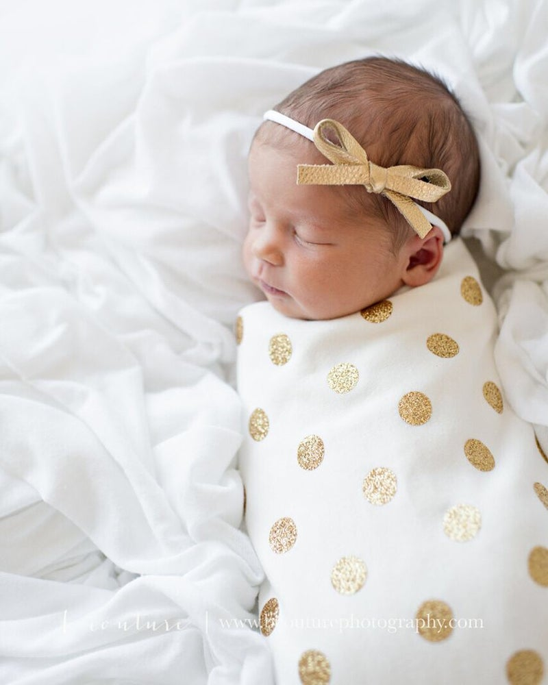 Image of The Jaylin Swaddling Blanket (Optional Knot Hat OR Knotted Headband)