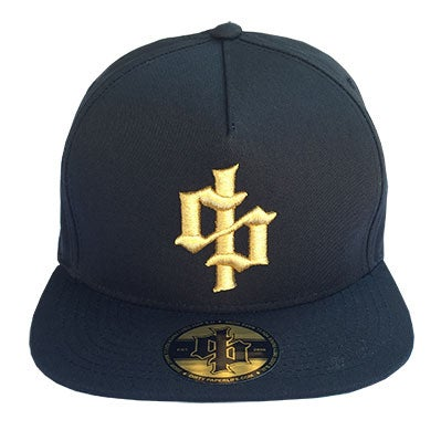 Image of Dirty Paper Gold Dollar Sign Logo Snapback Baseball Cap Black