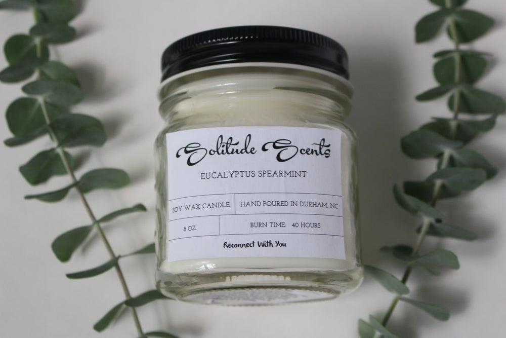 Image of 8 oz. Eucalyptus Spearmint Soy Wax Mason Jar Candle