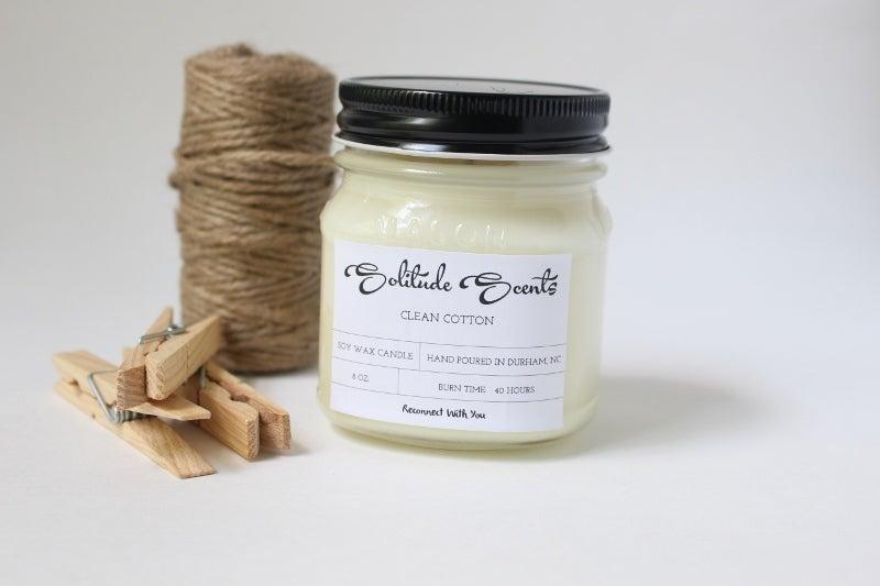 Image of 8 oz. Clean Cotton Soy Wax Mason Jar Candle