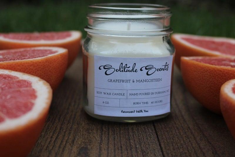 Image of 8 oz. Grapefruit & Mangosteen Soy Wax Mason Jar Candle