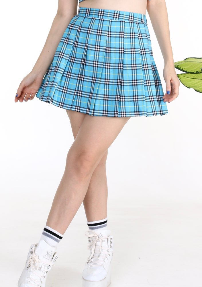 Image of Pre Order - Light Blue Tartan Pleated Skirt By GFD