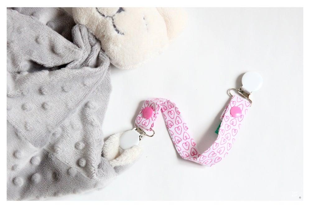 Image of Attache tétine ou doudou Pink Hearts - DERNIERE PIECE!