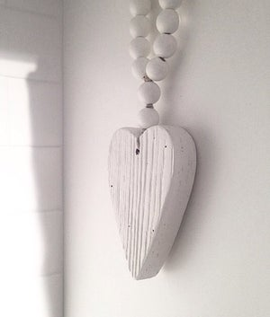 Image of Love Beads for the home - Reclaimed Mini Style in White with Heart