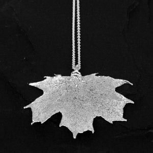 Image of Dipped canadian maple leaf necklace in silver plated brass