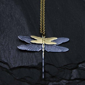 Image of Doublefly necklace in brass
