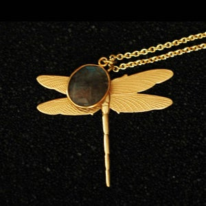 Image of Dragonfly necklace with stone in brass