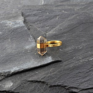 Image of Band ring with smokey quartz