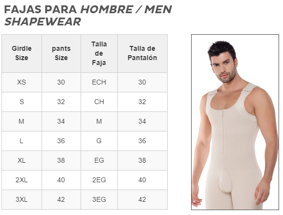 Image of 298 -Enterizo Control de Abdomen y Espalda / Men's Abdomen and Legs Control Bodysuit