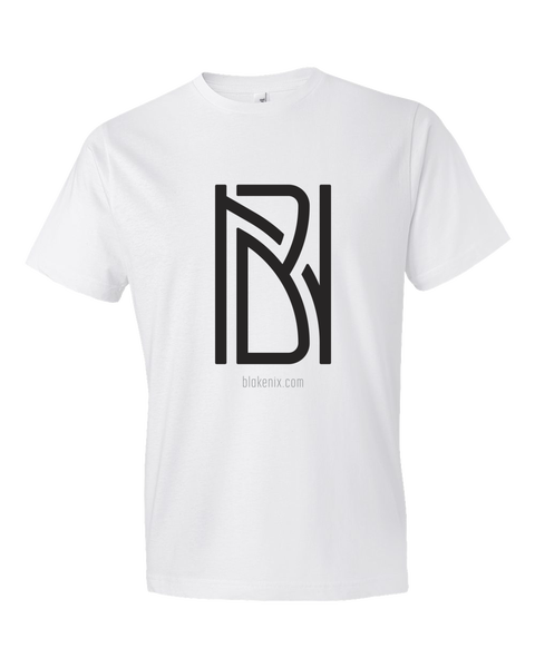 Image of Men's white t-shirt with Blake Nix logo