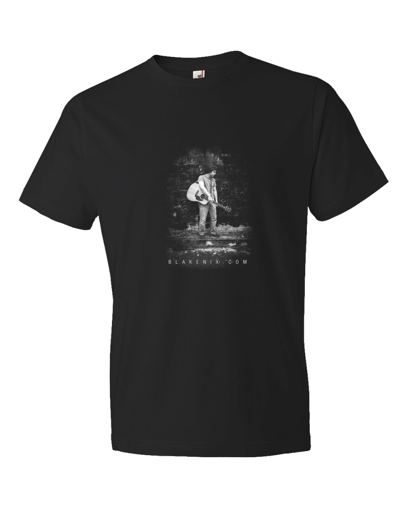 Image of Men's black t-shirt with Blake Nix Image