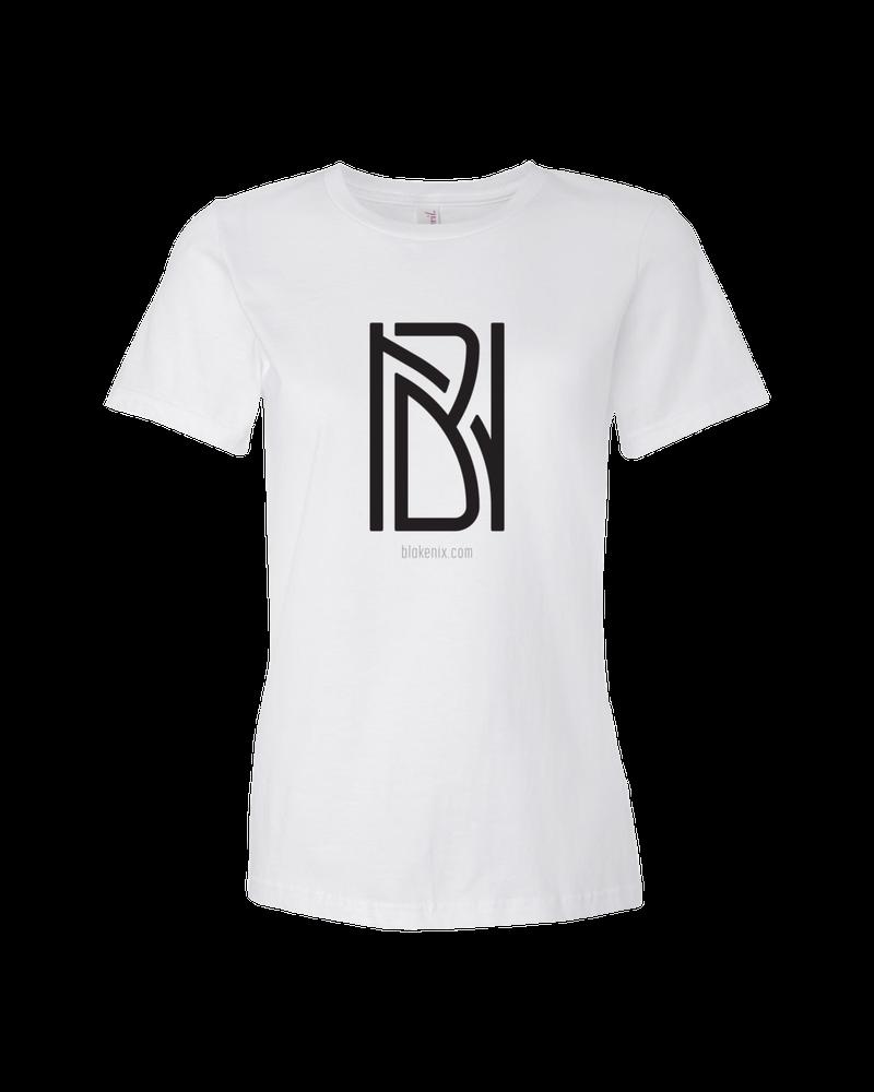 Image of Women's white t-shirt with Blake Nix logo