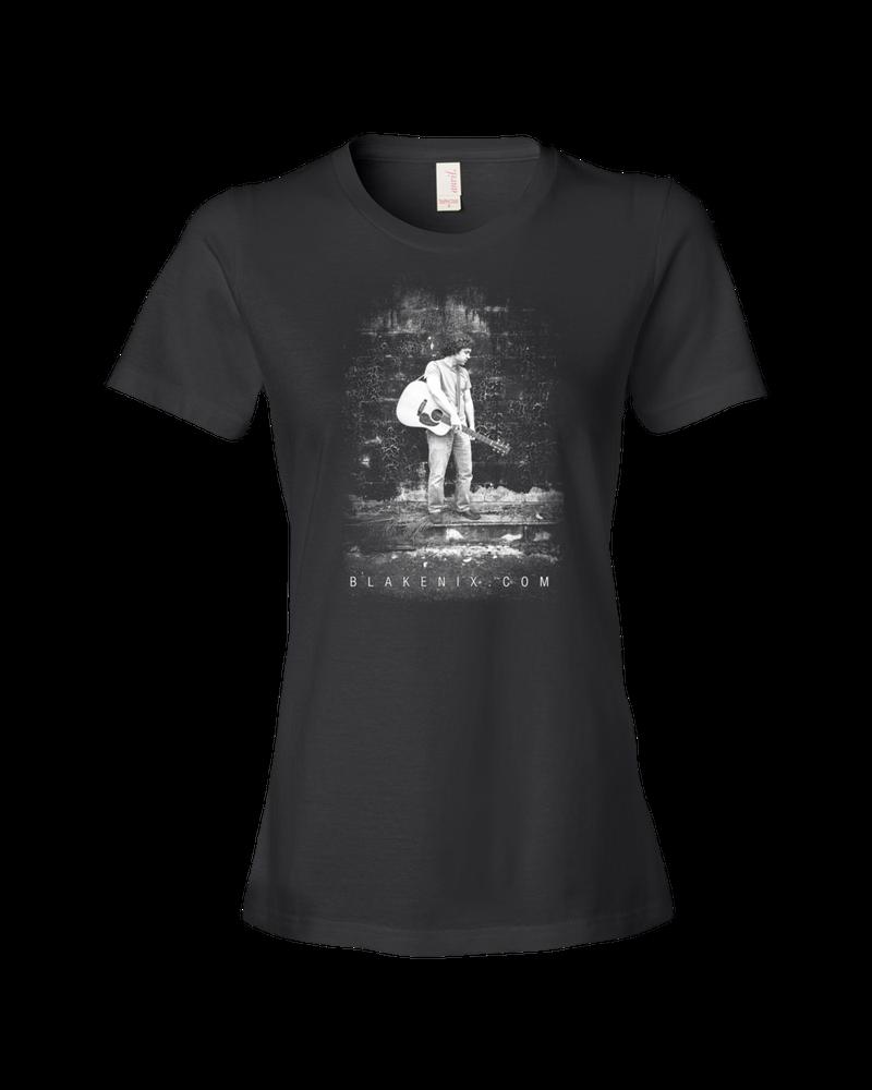 Image of Women's black t-shirt with Blake Nix image