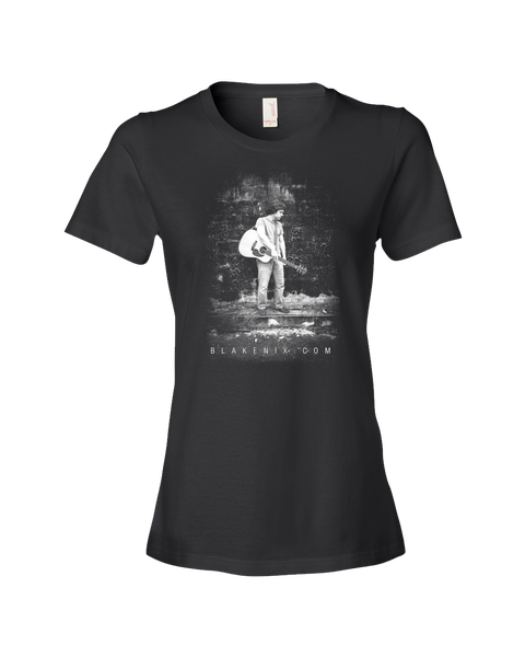 Image of Women's black t-shirt with Blake Nix image