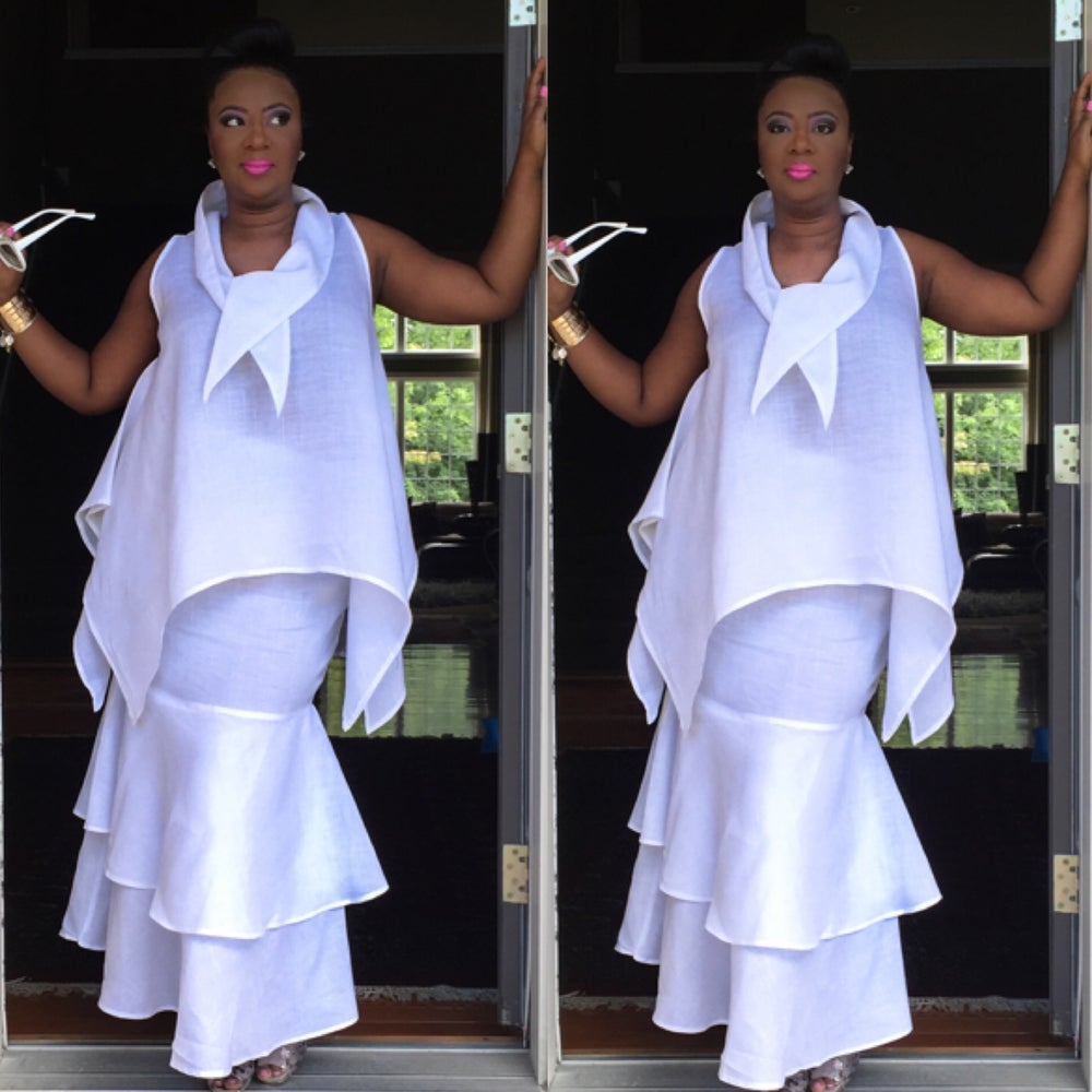 Image of White Luxe Linen Double Tiered Mermaid Skirt $65.00  Luxe Top $55.00