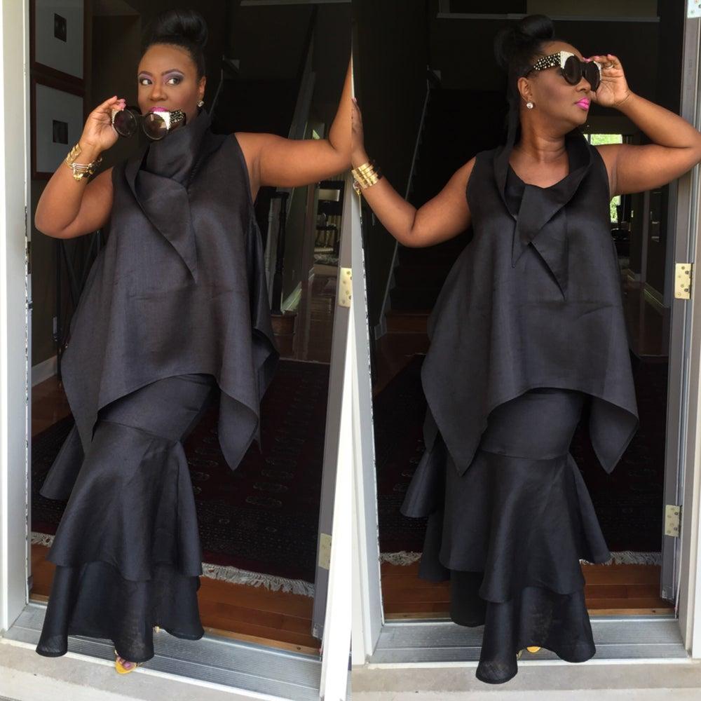 Image of Black Luxe Linen top $75.00  Luxe Linen Skirt $95.00