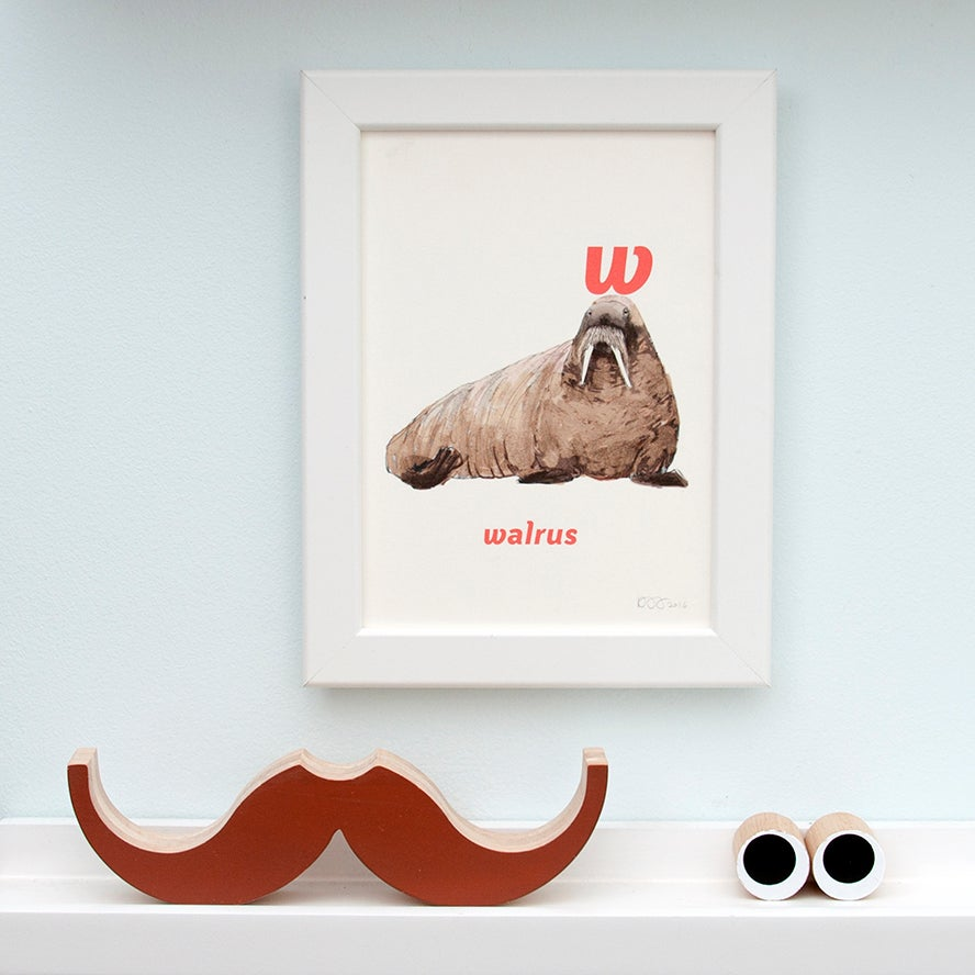 Image of W - Walrus Letter Print