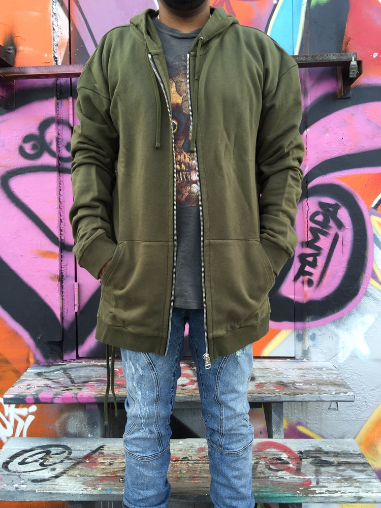 Image of FAITH CONNEXION Khaki Laced Oversized Hoodie FW16