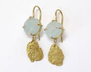 Image of Gold Flake Raw Aquamarine 18k Earrings