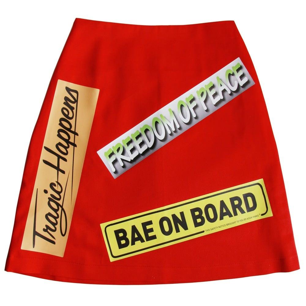Image of BUMPER STICKER Skirt - Red
