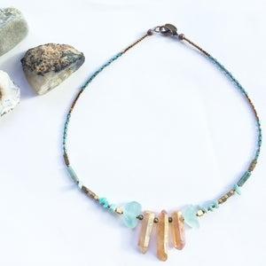 Image of Nia Necklace - Quartz, malachite and hematite