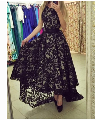 Image of HOT BLACK LACE DRESS