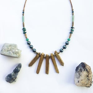 Image of Lila Necklace - quartz, hematite, malachite, jade  - one of a kind SOLD OUT