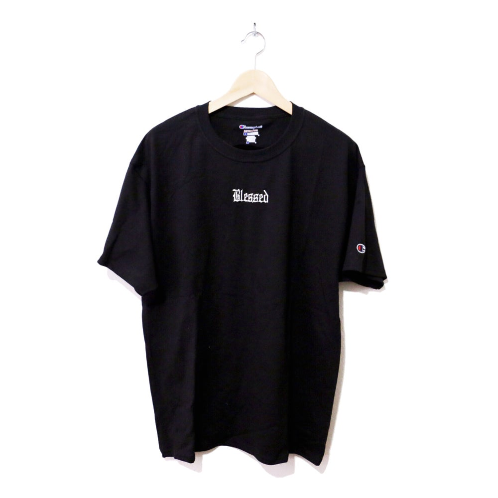 Image of BLESSED EMBROIDERED CHAMPION® TEE (BLACK)