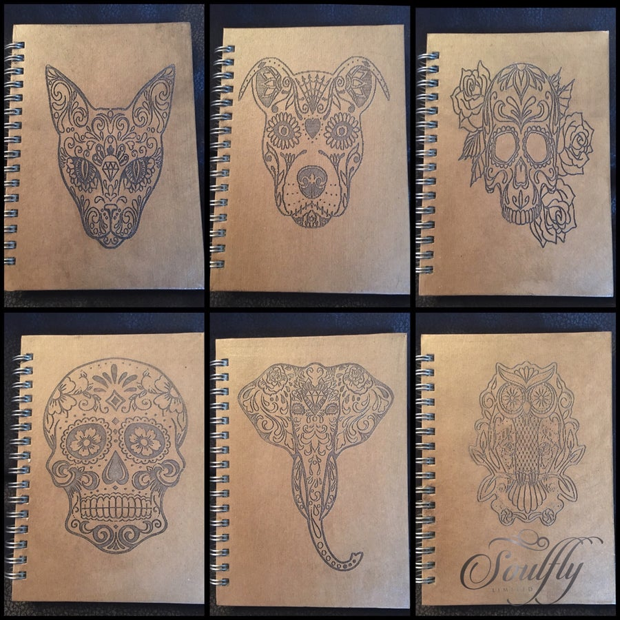 Image of Sugar skull recycled notebook 80 cream blank sheets A4