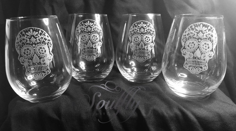Image of Sugar skull stemless wine glass set of 4