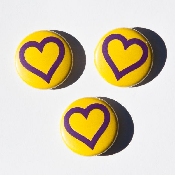 Image of Intersex Day heart logo badges