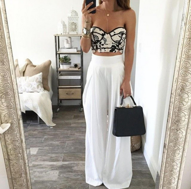 Image of FASHION WHITE HIGH WAIST LONG PANTS