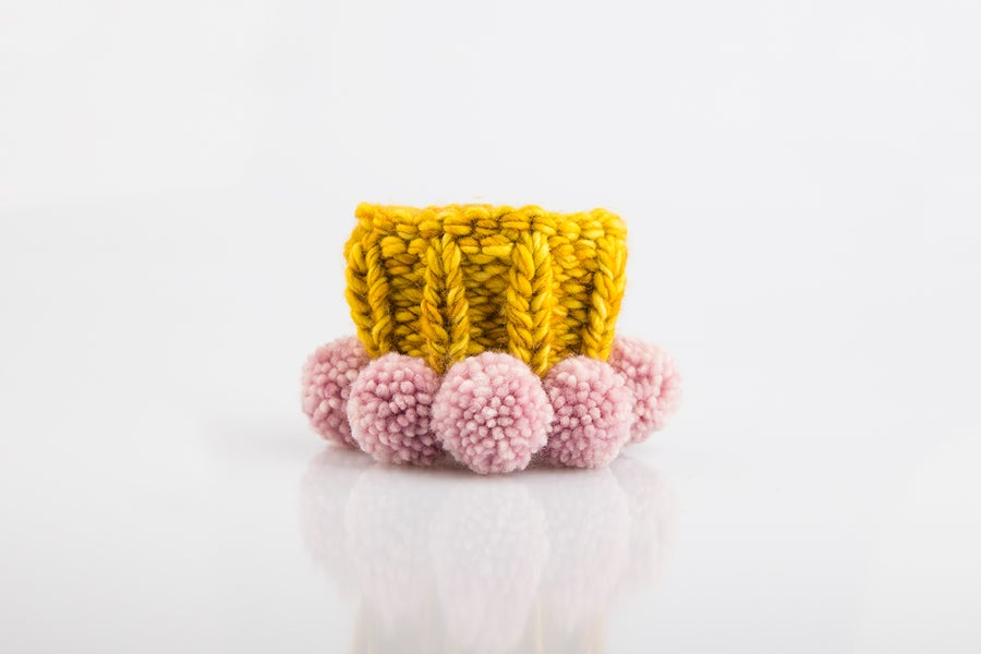 Image of Knitted Cuff - citric mustard pink