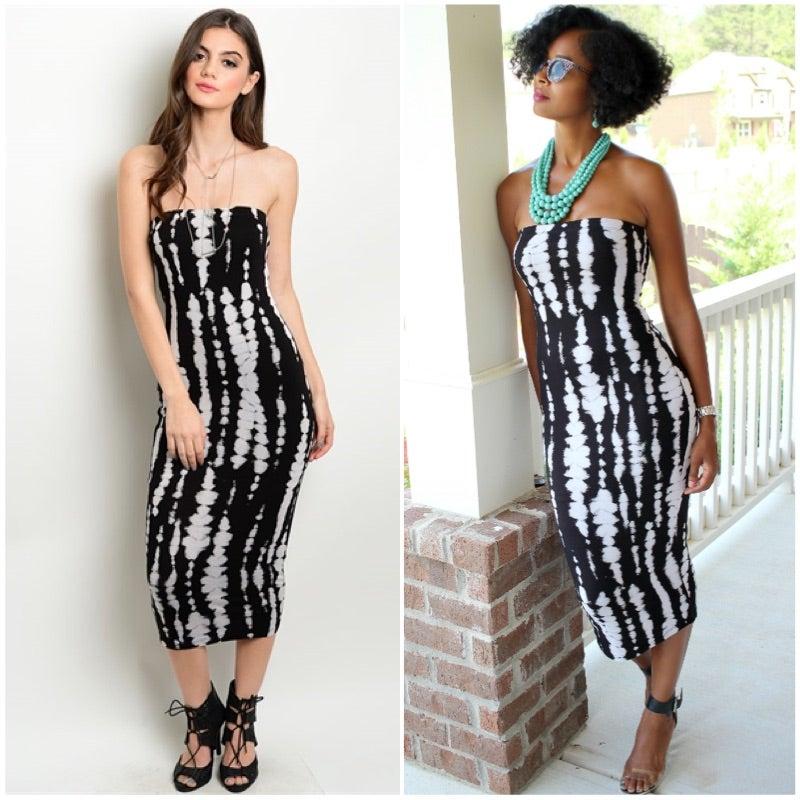 Image of Black & Cream Tube Dress