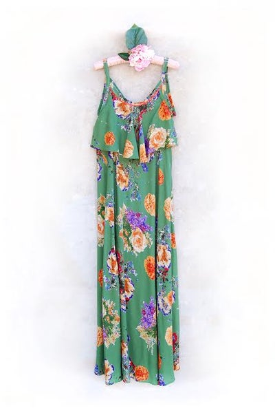 Image of Green Gable Breastfeeding Maxi dress