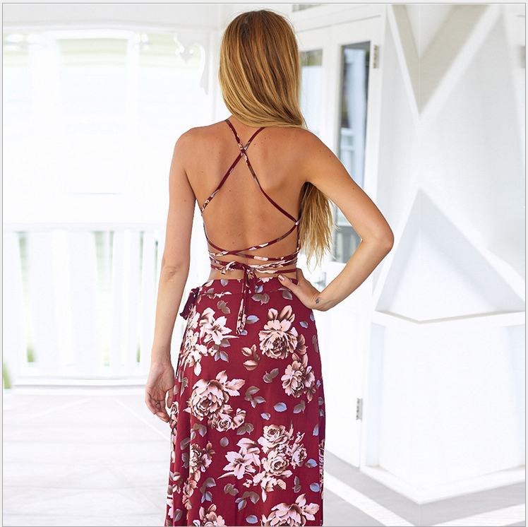 Image of Irregular sexy split bind printed two-piece dress
