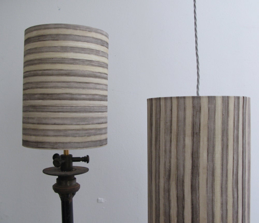 Image of STEEL/GREY LINEN STRIPE DRUM LAMPSHADE