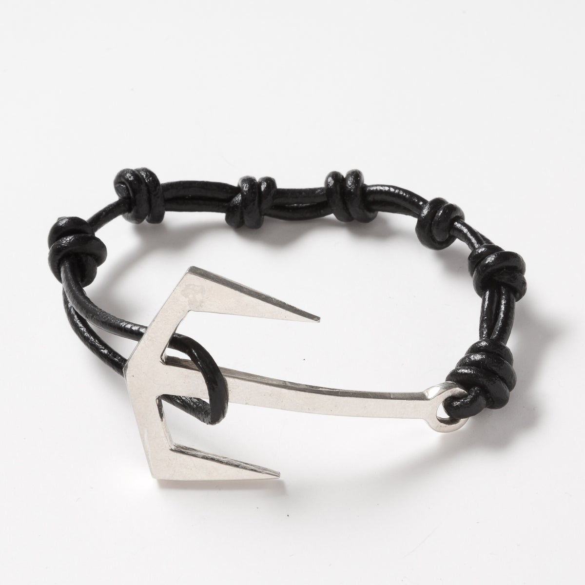 Image of Silver Anchor Leather Bracelet