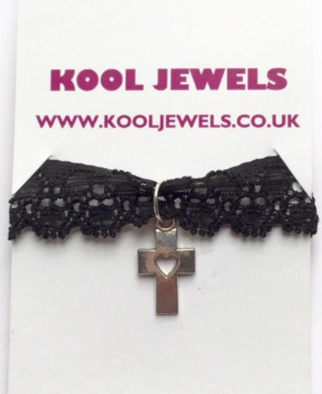 Image of Kool Jewels Cross Heart Black Lace Choker
