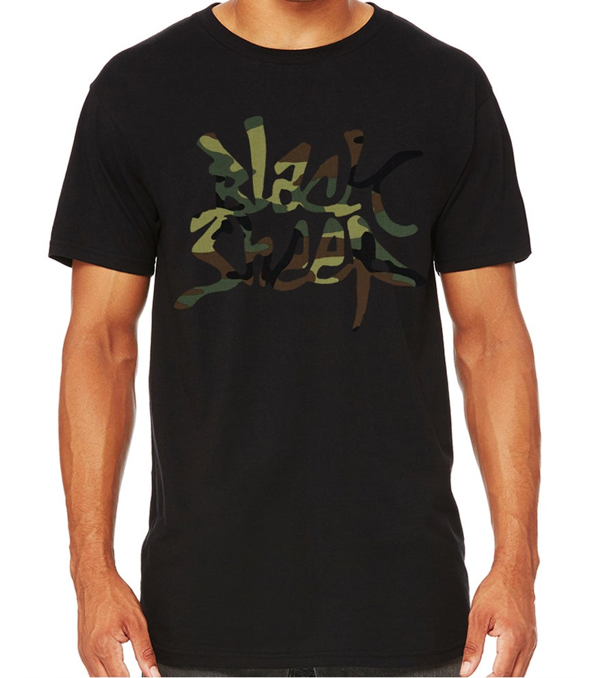 Image of LONG-LENGTH CAMO TEE (BLACK)