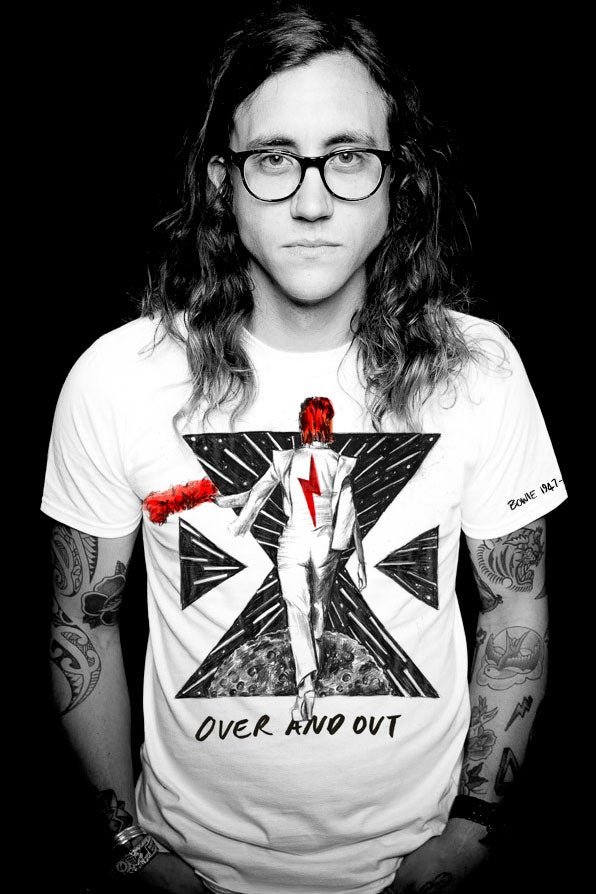 Image of FOREVER BOWIE - OVER AND OUT X TEE WHITE