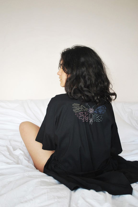 Image of Moth Embroidered Robe 2
