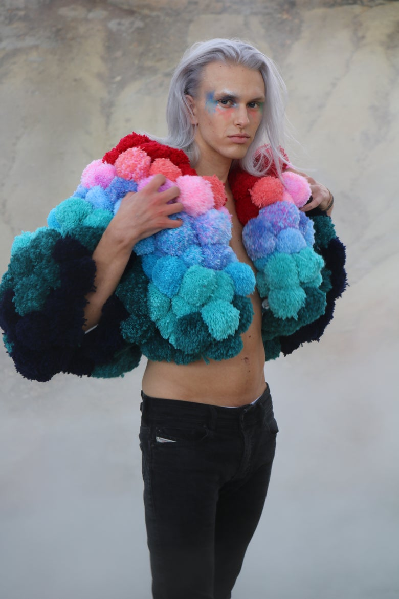 Image of LIFE ON MARS/ EXTRAGGED POM POM JACKET