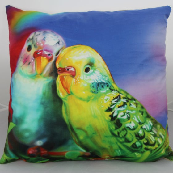 Image of 'Budgie Love' cushion