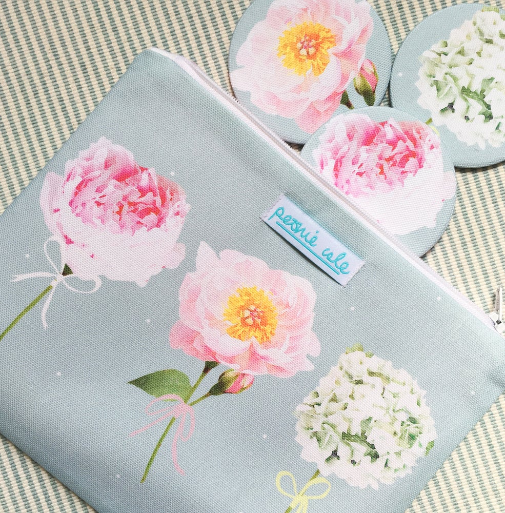 Image of Time to Bloom Pouch Bag and Mirror