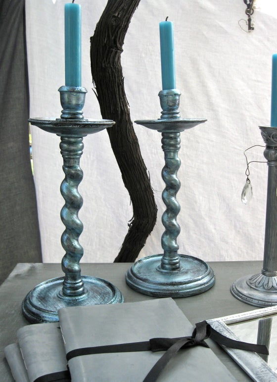 Image of Gothic Style Wooden Metalic Blue Candle Holders