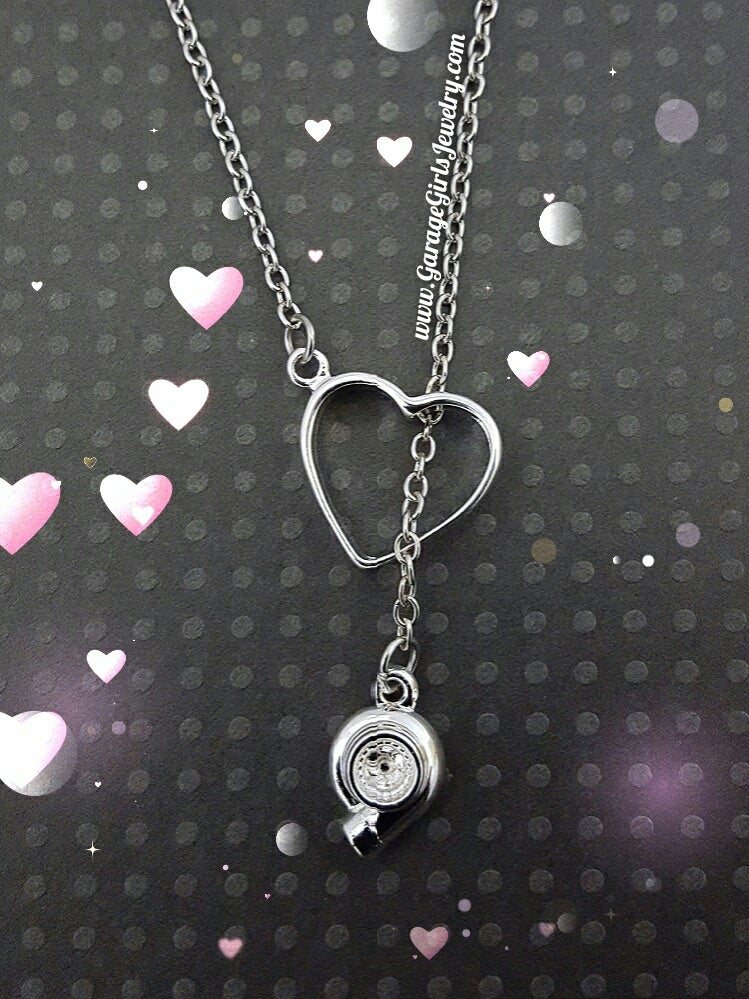 Image of Turbo Heart Lariat Necklace