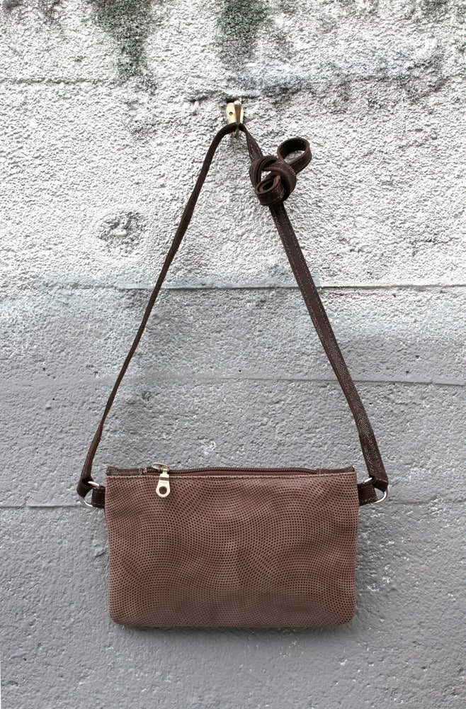 Image of Mini Chelsea Crossbody - brown suede with dot print