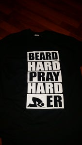 "Image of BLACK ""BEARD HARD PRAY HARDER"" TEE"